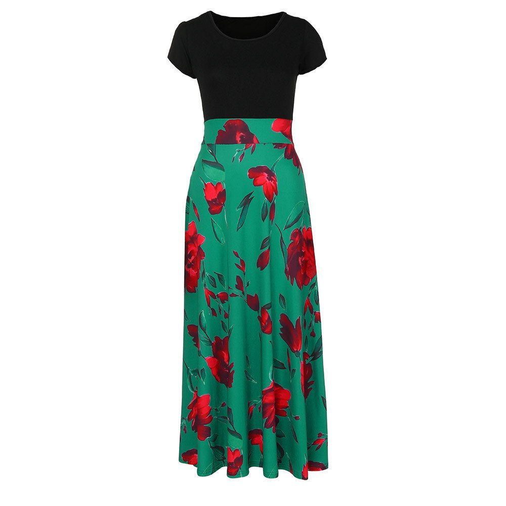 ABASSKY Womens Fashion Casual Floral Printed Maxi Dress Short Sleeve Party Long Dress