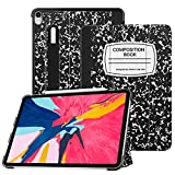 Fintie SlimShell Case for iPad Pro 11' 2018 [Supports 2nd Gen Pencil Charging Mode] - Lightweight Stand Cover with [Secure Pencil Holder] Auto Sleep/Wake for iPad Pro 11, Composition Book Black