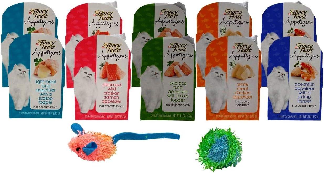 Fancy Feast Appetizers Gourmet Cat Complement 5 Flavor Variety 10 Can Plus 2 Catnip Toys Bundle, 2 each: Wild Alaskan Salmon, Tuna Scallop, White Meat Chicken, Oceanfish Shrimp, Tuna Sole (1.1 Ounces)