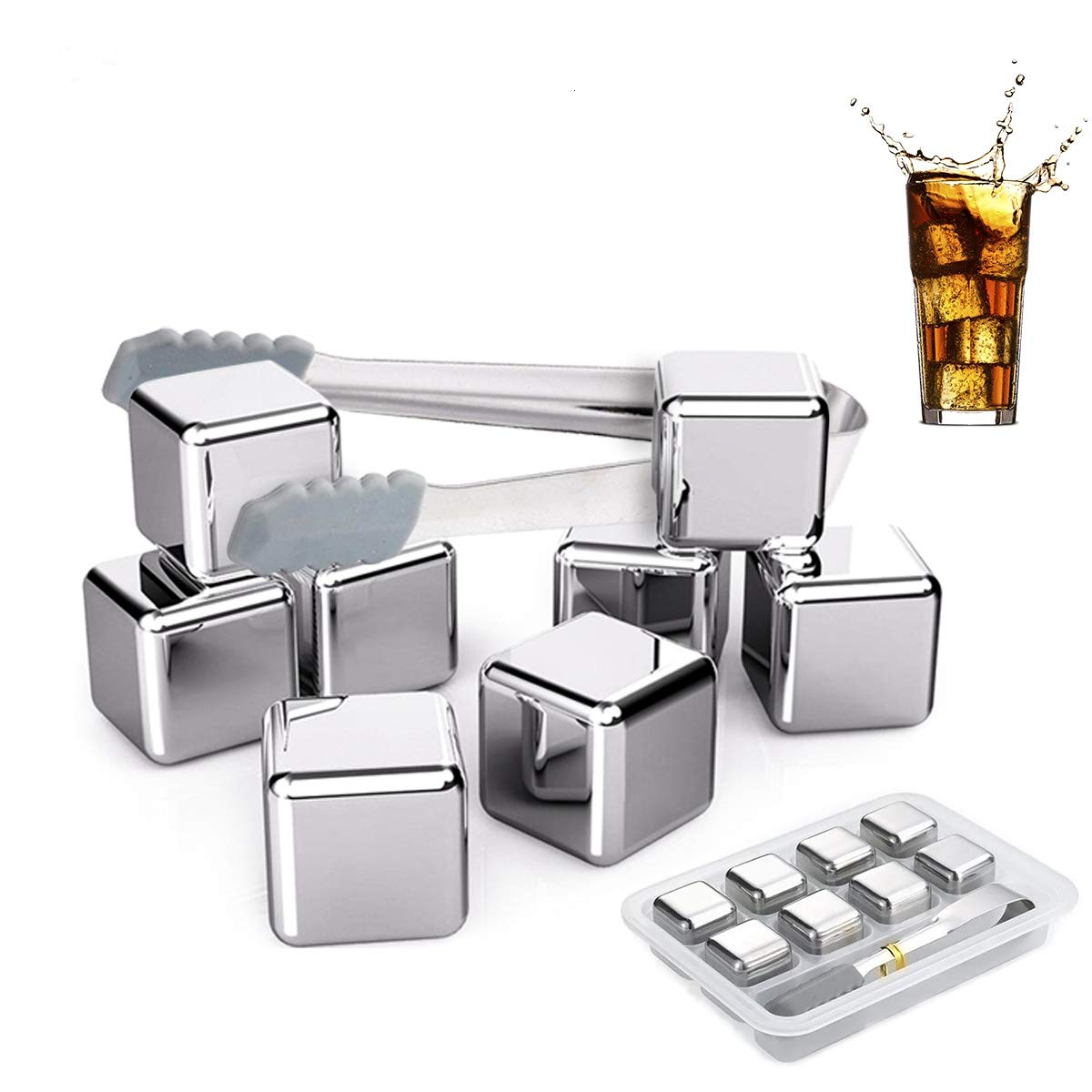 Fangie Exclusive Stainless Steel Whisky Stones  High Cooling Technology Reusable Ice Cubes Men Set of 8 Chilling Stones Ice Tongs  Classy Coasters  Birthday