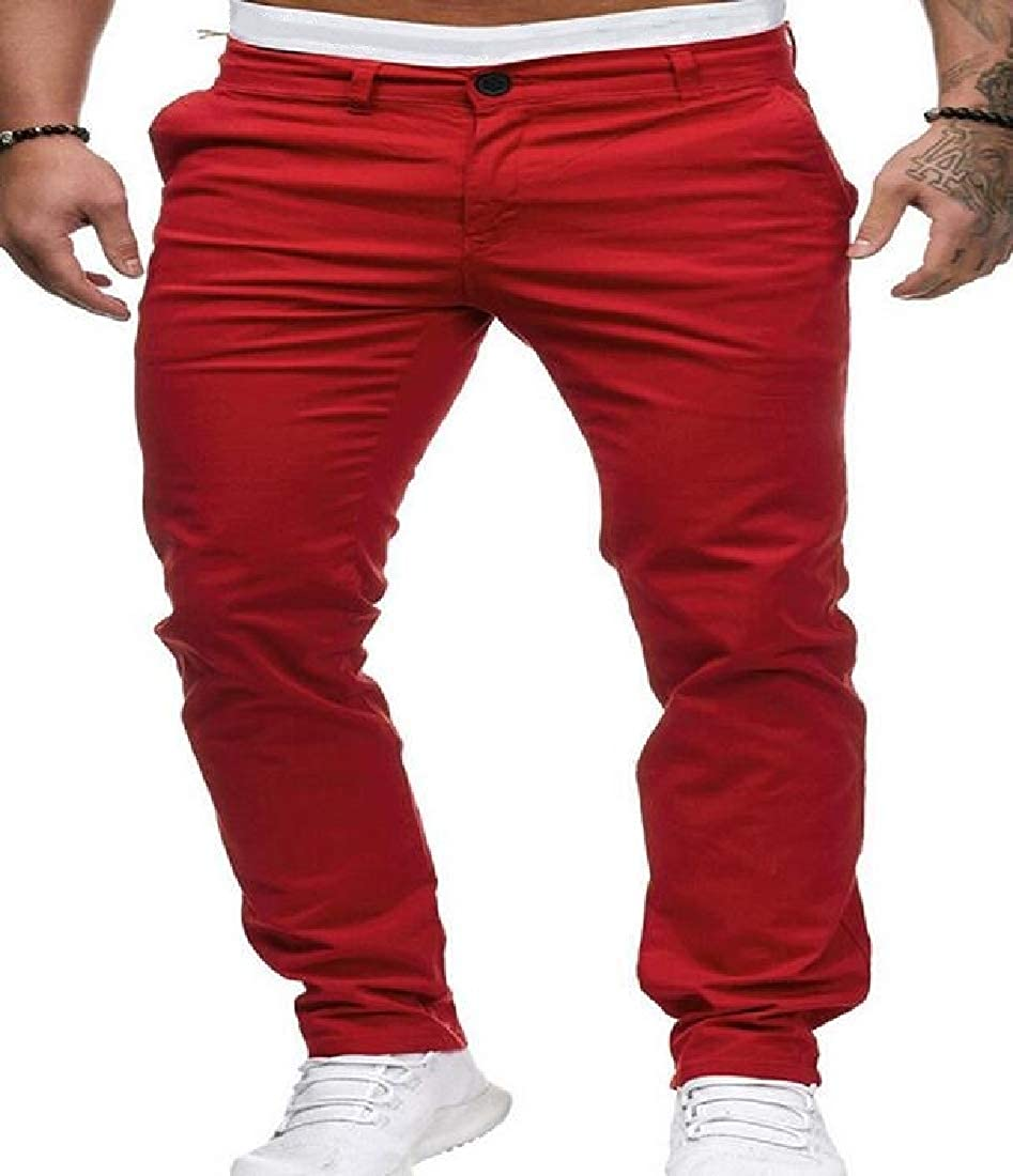 UUYUK Men Expandable Waist Casual Plain Stretchy Straight Leg Long Pants