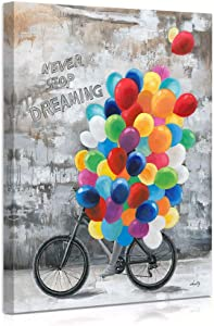 """""""Never Stop Dreaming"""" Balloon Girl on Bicycle Canvas Print Wall Art, Inspirational Wall Art Framed Paintings for Girls Room Wall Decor 12""""x16"""""""