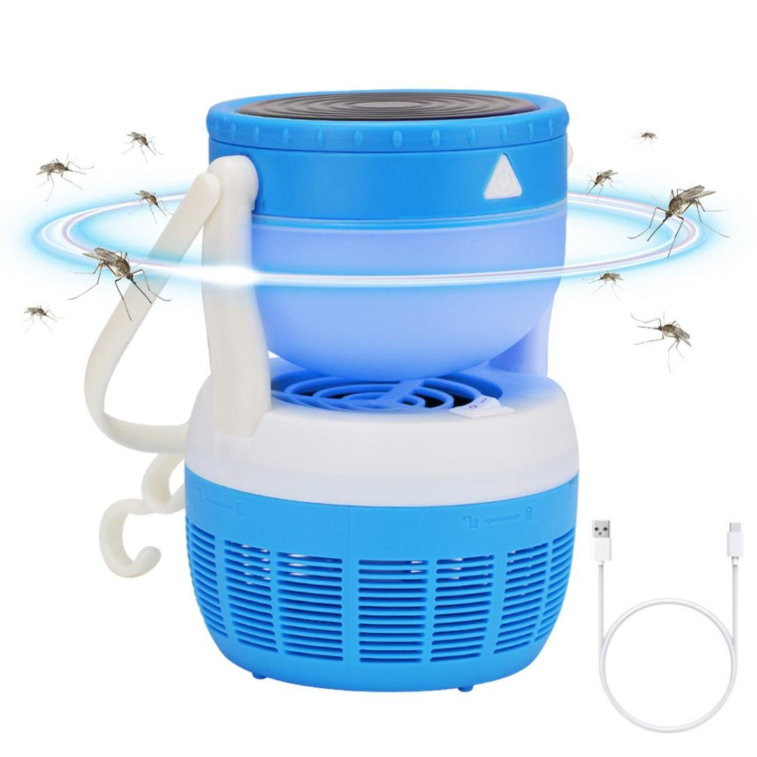 Highpot Electric Fly Bug Zapper Mosquito Insect Killer LED Light Trap Lamp USB Rechargeable Pest Repeller for Mosquito, Bugs, Flies (Blue)