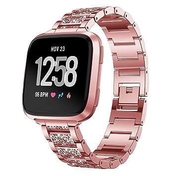 zolimx correas Fitbit Versa Accesorios, Reemplazo de Reloj de Pulseras de Repuesto Diamantes de Acero Inoxidable para Fitbit Versa: Amazon.es: Deportes y ...
