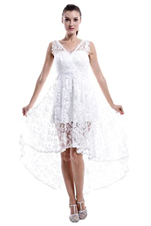 5ecdafd1aafc kxry Women's High Low Lace Casual Wedding Dress Short Front Long Back  Bridal Gown (White