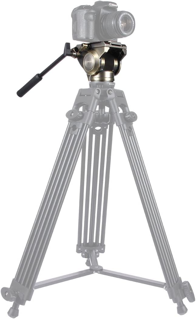 Color : Black Heavy Duty Video Camera Tripod Action Fluid Drag Head with Sliding Plate for DSLR /& SLR Cameras Large Size Durable