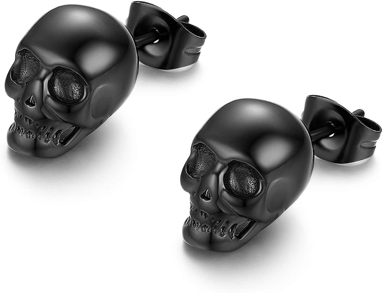 Stainless Steel Gothic Skull Stud Earrings for Men Women Halloween Cosplay,Hypoallergenic,Silver,Black,Gold