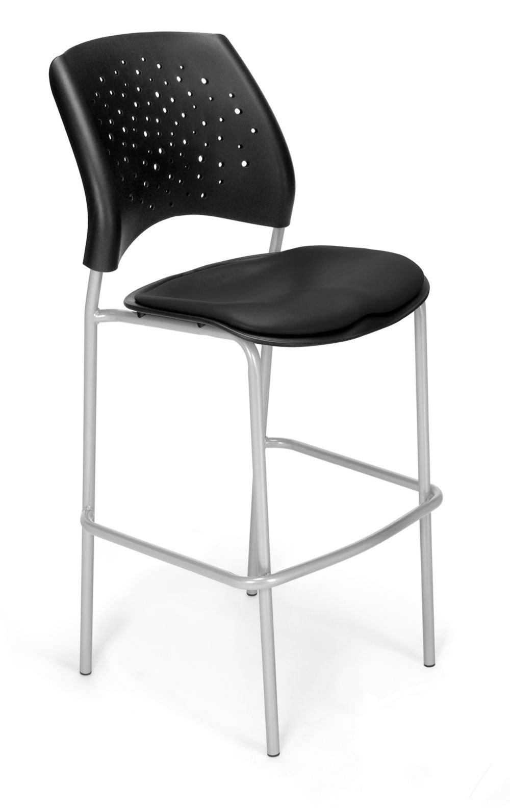 Set of 2 Cafe Height Vinyl Silver Chair Black Vinyl/Silver Frame Dimensions: 21.5''W x 23''D x 45.75''H Weight: 103 lbs