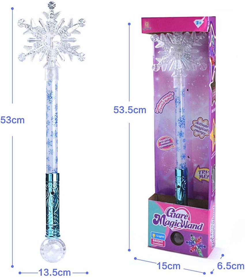 Weedon LED Allume la Baguette /étoile avec Boule de Cristal pour Les Enfants Baguette Princesse Flocon de Neige Baguette Lumineuse Princesse Cosplay f/ée b/âton Brillant