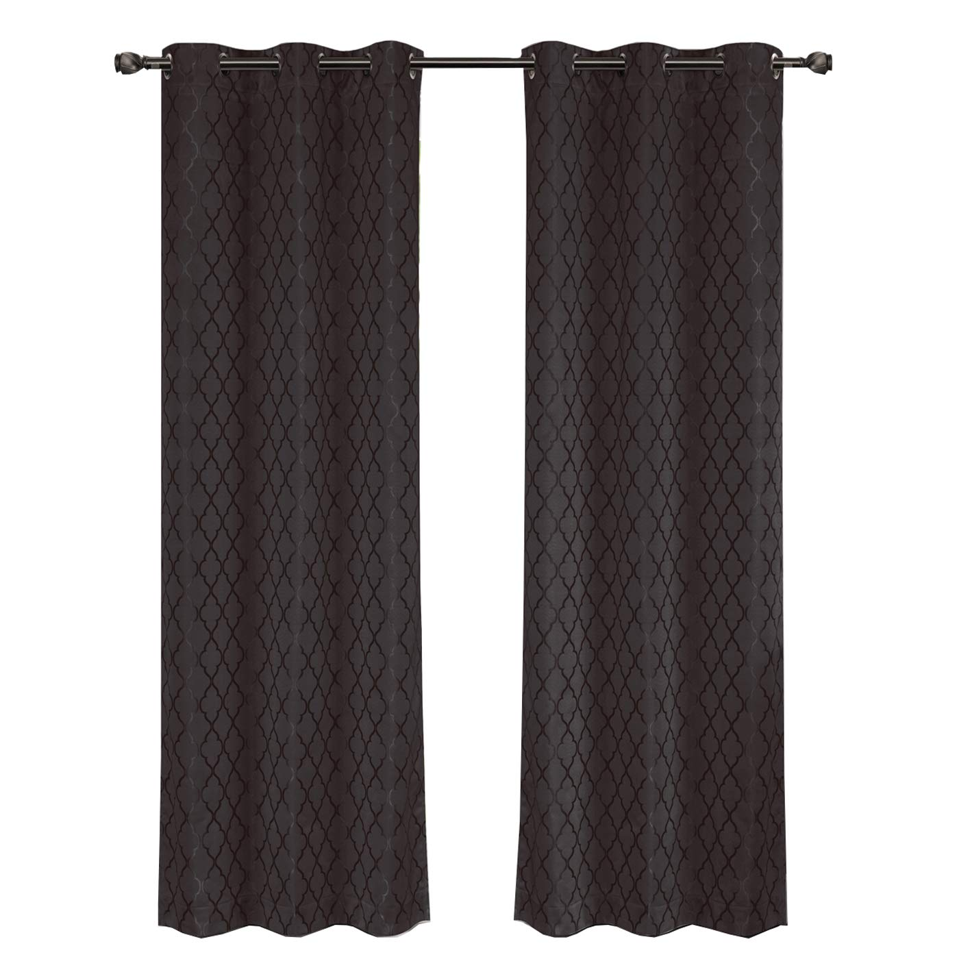 Willow Jacquard Charcoal Grommet Blackout Window Curtain Panels, Pair / Set of 2 Panels, 42x96 inches Each, by Royal Hotel