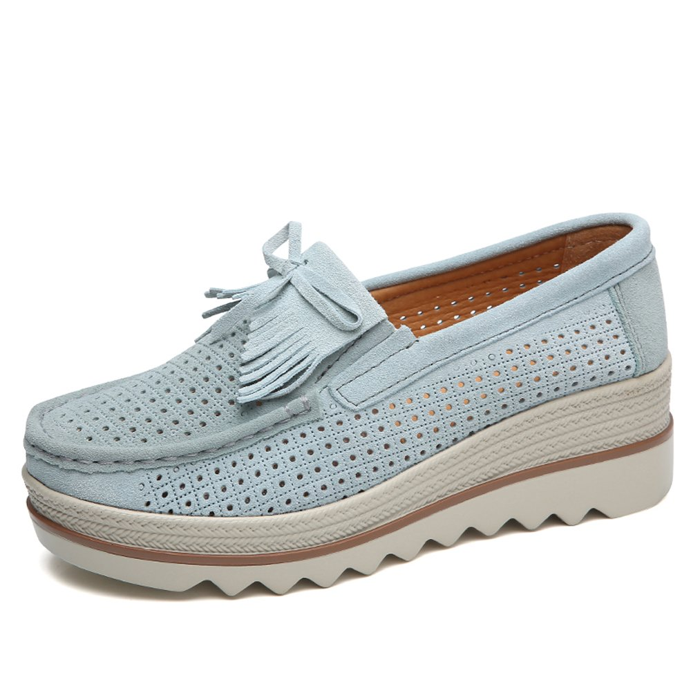 LeoVera Women Loafers Slip On Tassel Platform Sneakers Comfort Suede Driving Moccasins Shoes Low Top Wedge Shoes LVSGX2017-Hollow grey-41