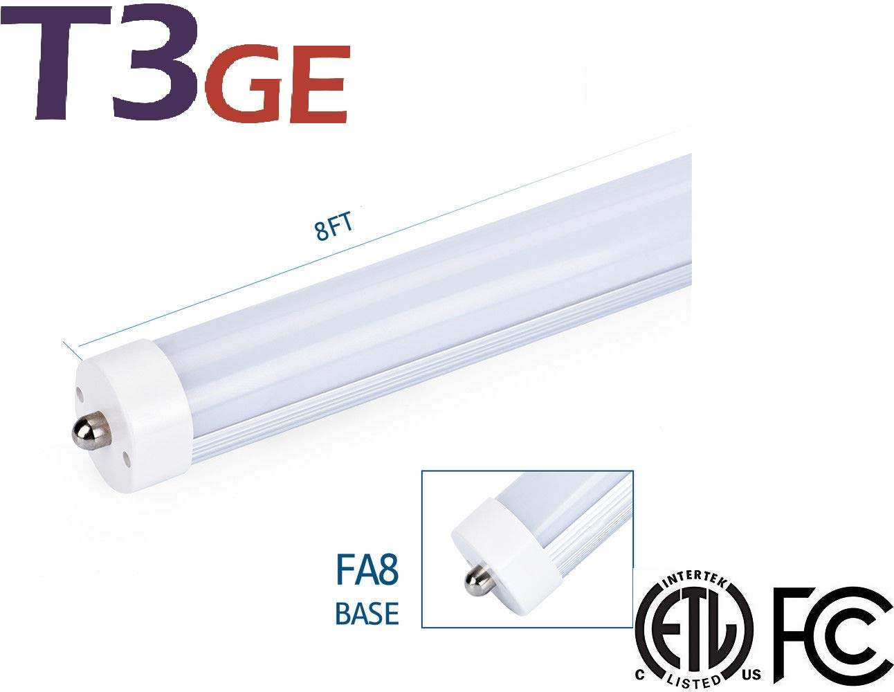 T3 グリーンエネルギー T8 LEDライトチューブ 8フィート 36W (75W-80W 相当 デュアルエンドパワー、バラストバイパス4400ルーメン、5000K、クリア、ガレージ、倉庫、ショップライト - 1パック 6 Pack B07JVBTFYK Ftf5000K -Bright White 6 Pack