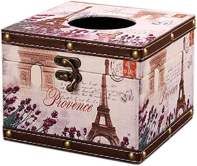 B/üro Schlafzimmer Milnut Kosmetikt/ücherbox aus Holz Taschentuchbox Quadratischer Taschentuchspender Retro Taschentuchbox f/ür Badezimmer Stil A