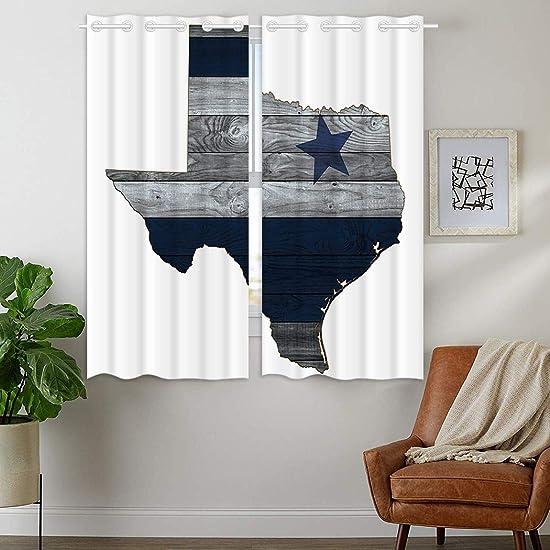 HommomH 42 x 63 inch Curtains 2 Panel Grommet Top Darkening Blackout Room Dallas Blue Silver Cowboy Star