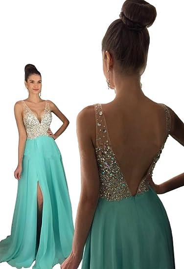 Split Strapless Deep V Neck Evening Dress Heavy Beaded Chiffon Skirt Prom Dress