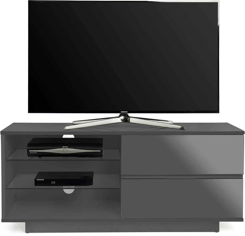 Centurion - Mueble de TV con 2 cajones y 3 estantes para televisores de pantalla plana de hasta 55