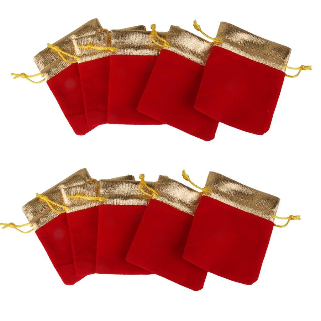 Lot de 10pcs Pochette à Bijoux Sac Cadeau à Cordon Coulissant Sachet en Velours Rouge Générique STK0113013321