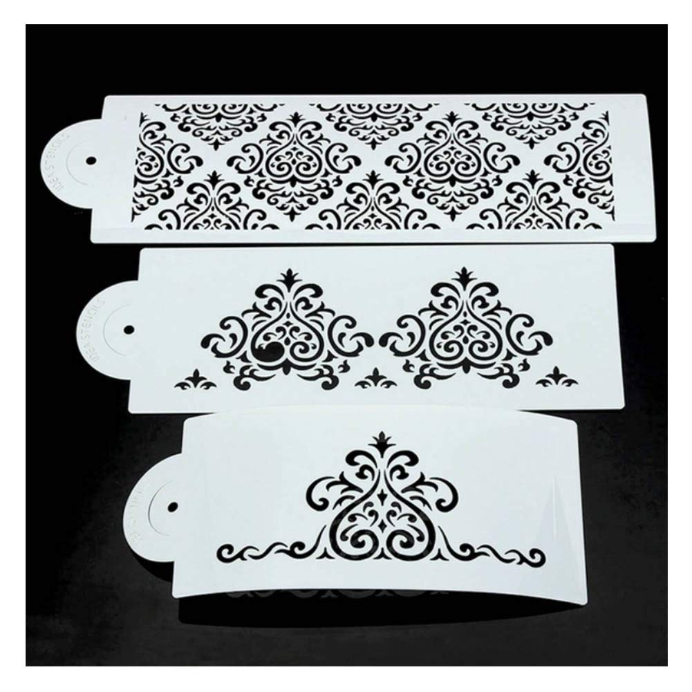 Cake Stencils, DIY Cookie Practical Lace Flower Cake Cookie Fondant Side Baking Stencil Wedding Decorating Tool,5Pcs by Cake Stencils (Image #2)