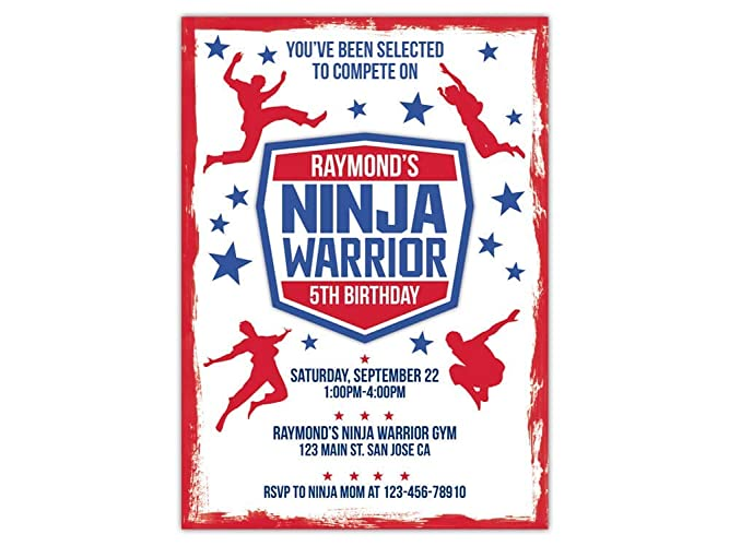 Custom Ninja Warrior Birthday Party Invitations For Kids 10pc 60pc 4x6 Or 5x7 Cards With White Envelopes Printed On Premium 265gsm Card Stock