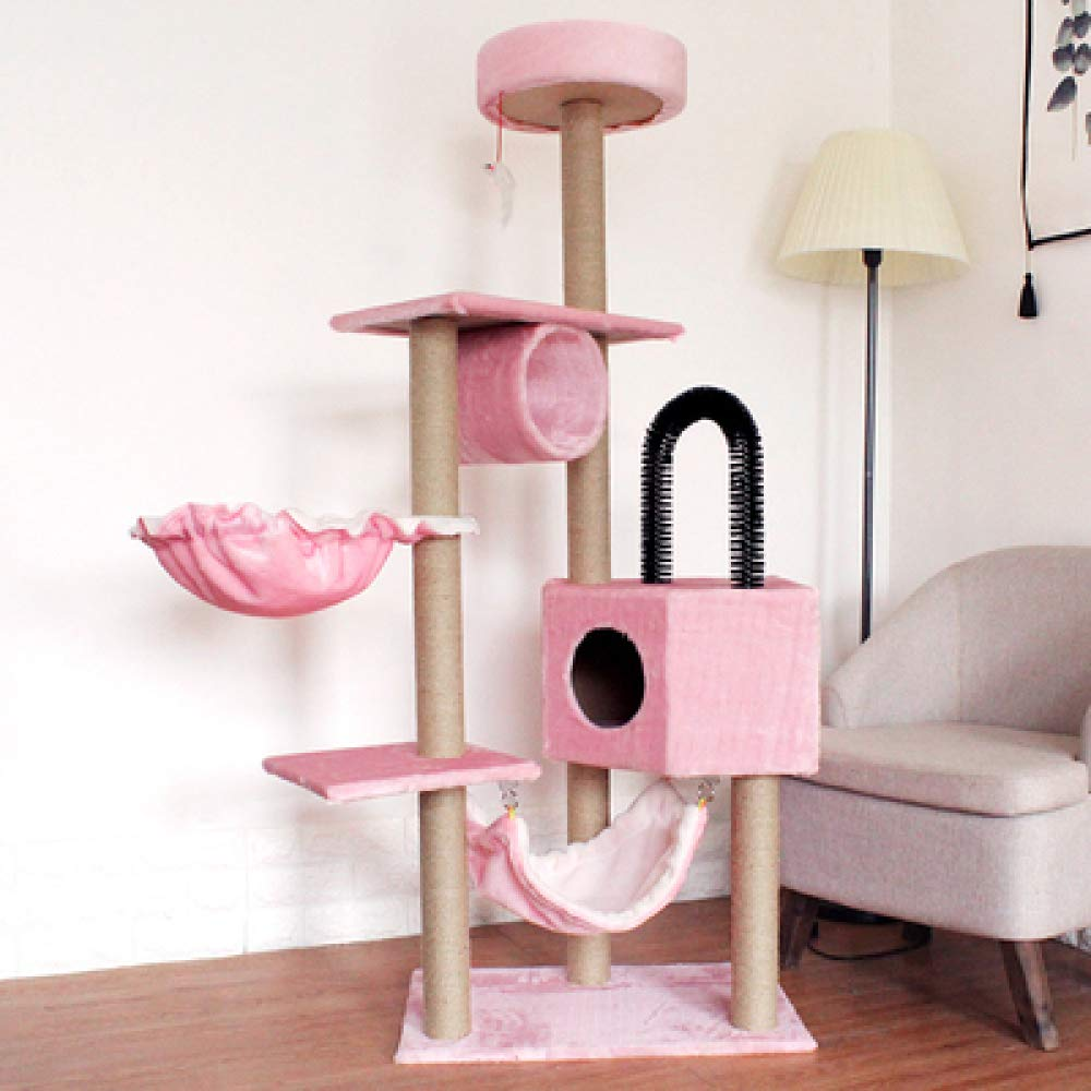 Lightpink ZDY Indoor Cat Climbing Frame,Cat Scratcher Pole Cat Rest Activity Center,Dangling Ball Toys,Lightpink