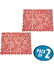 mDesign Decorative Kitchen Sink Protector Mat Pad Set, Quick Draining - Use In Sinks to Protect Surfaces and Dishes - Modern Floral Design - 2 Large Customizable Sink Mats - 2 Pack, Red