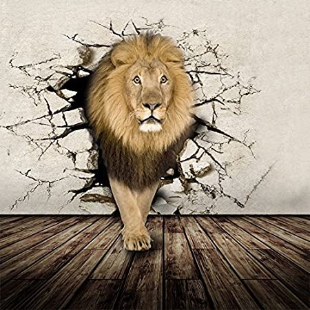 LWCX Home Decoration 3D Wallpaper Animal Lion Mural 180x140CM: Amazon.co.uk: DIY & Tools
