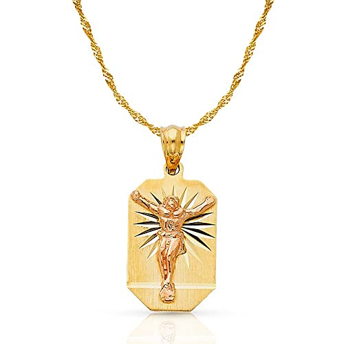 14K Two Tone Gold Religious Crucifix Stamp Charm Pendant For Necklace or Chain