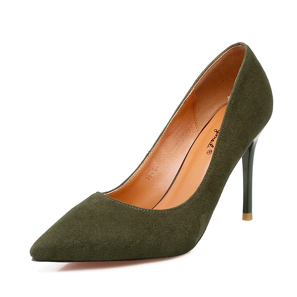 Tip of the high-heel shoes satin fine with women's singles shoes shallow mouth wild, Army Green 34
