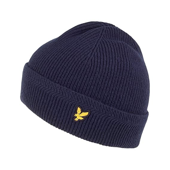 043b04e42 Lyle & Scott Hats Racked Ribbed Beanie Hat - Navy 1-Size: Amazon.co ...