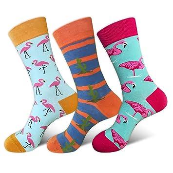 HYDZ® - Calcetines de algodón Peinado para Hombre, diseño de Animales, Colores Divertidos, 3 Unidades, Birds-2, Talla única: Amazon.es: Hogar