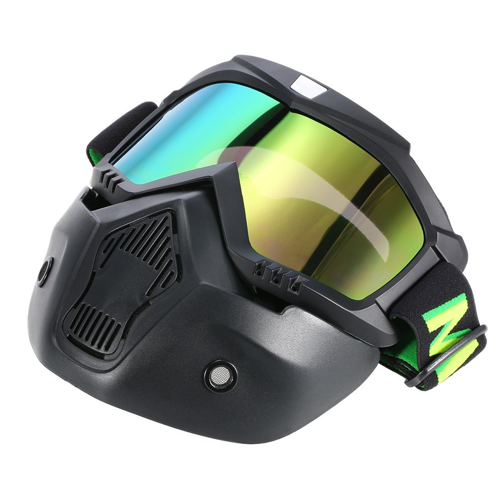 KKmoon Mortorcycle Maske abnehmbaren Schutzbrille und Mund Filter f/ür Open Face Helm Motocross Ski Snowboard