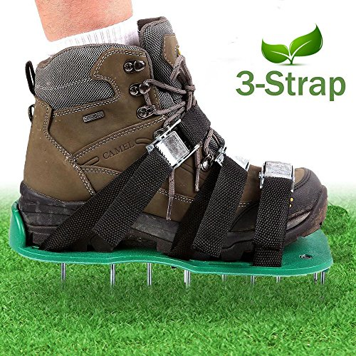 Lawn Aerator Spike Shoes,Aerating Lawn Soil Sandals with 3 Adjustable Straps and Metal Buckles,For a Greener and Healthier Garden and Yard by Yc