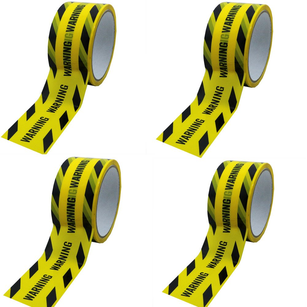 Hybsk 50MM(width) x 25M(length) Warning Tape Yellow With Black Ink (4 Rolls)