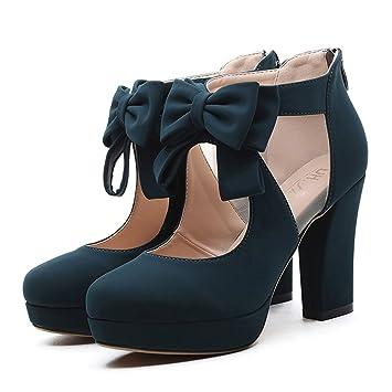 Damenschuhe HWF High-heeled Schuhe weiblich wasserdicht Taiwan flacher Mund  einzelne Schuhe runden Kopf Mesh f4dfe75fce