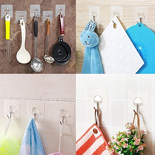 LIGE 13.2lb/6kg(Max) Transparent Super Heavy Duty Solid Glue No Scratch kitchen and Bathroom Hook, Waterproof and Oilproof, Super Load Reusable for Bathroom Kitchen Wall & Ceiling Hanger(8 pcs) chic