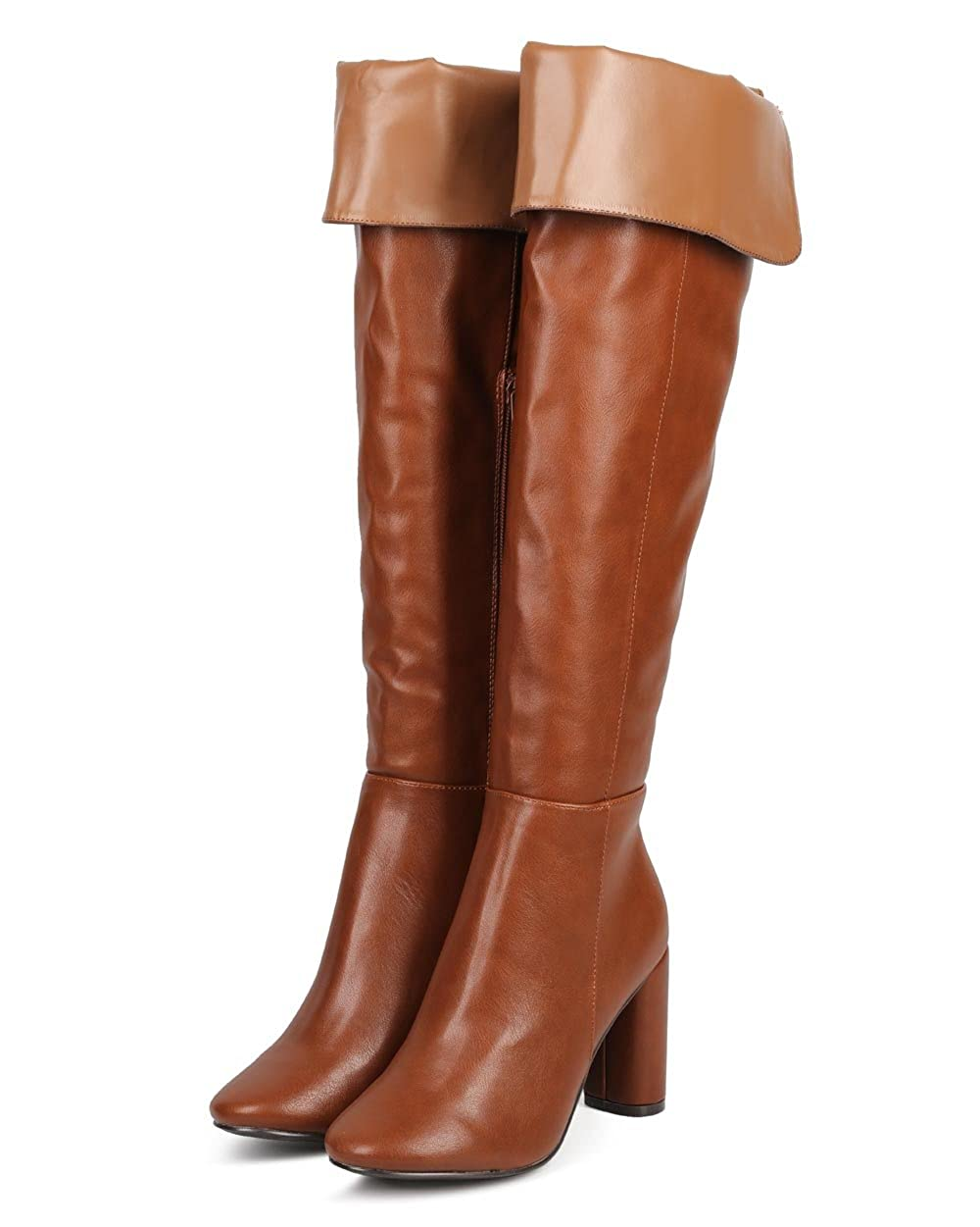 Women's Tan Faux Leather Fold Over Knee-High Tailored Pirate Boot - DeluxeAdultCostumes.com