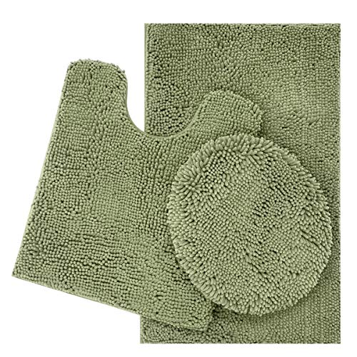 ITSOFT 3pc Non-Slip Shaggy Chenille Bathroom Mat Set, Includes U-Shaped Contour Toilet Mat, Bath Mat and Toilet Lid Cover, Machine Washable, Sage Green