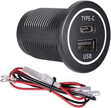 RV Set of 2 DAMAVO YM1218 USB C /& USB A Dual Port Car Charger Socket Power Outlet with Cap Input of 12V//24V Fast Type C Charger Socket Power Outlet for Marine Motorcycle Car Boat Bus