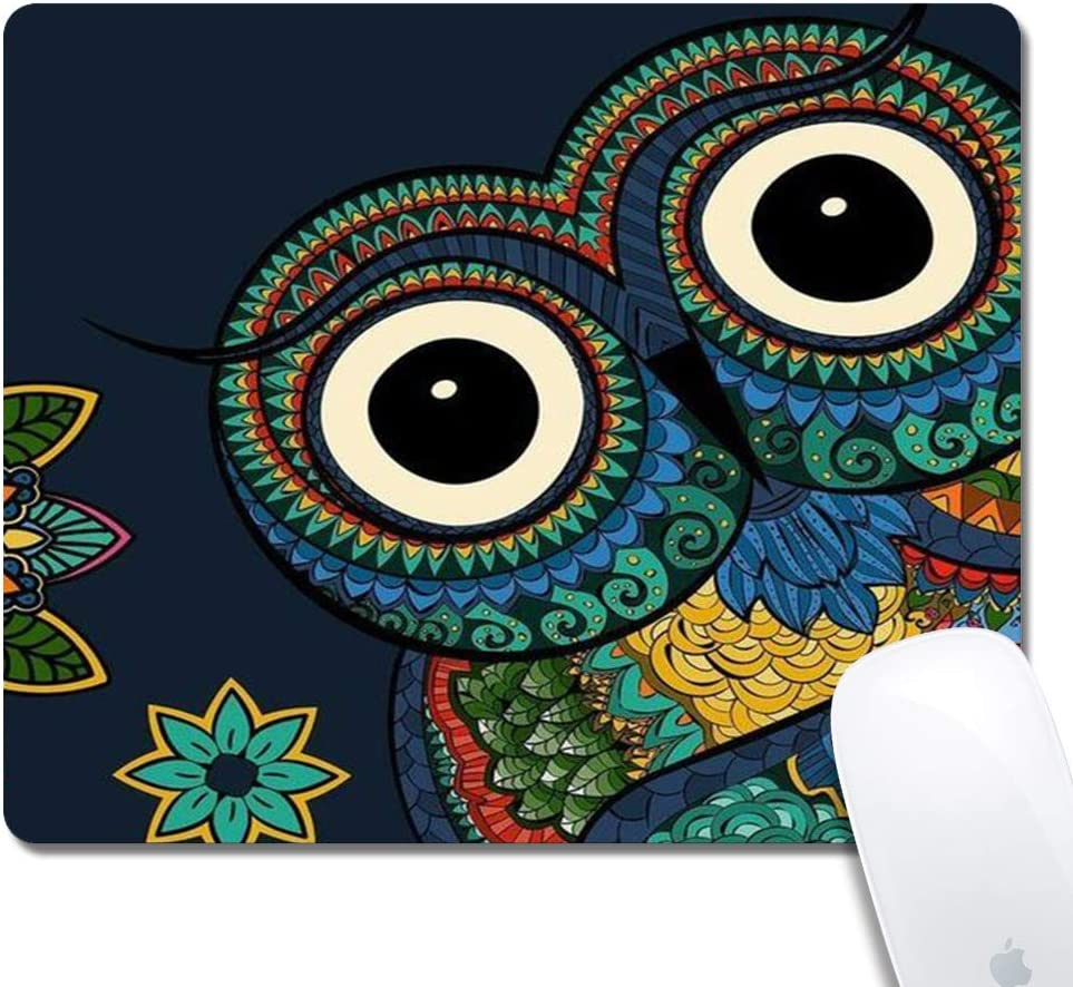 Mandala Owl Gaming Office Mouse Pad ZTtrade Durable Customized Non-Slip Rubber Mouse Pad-Rectangle.