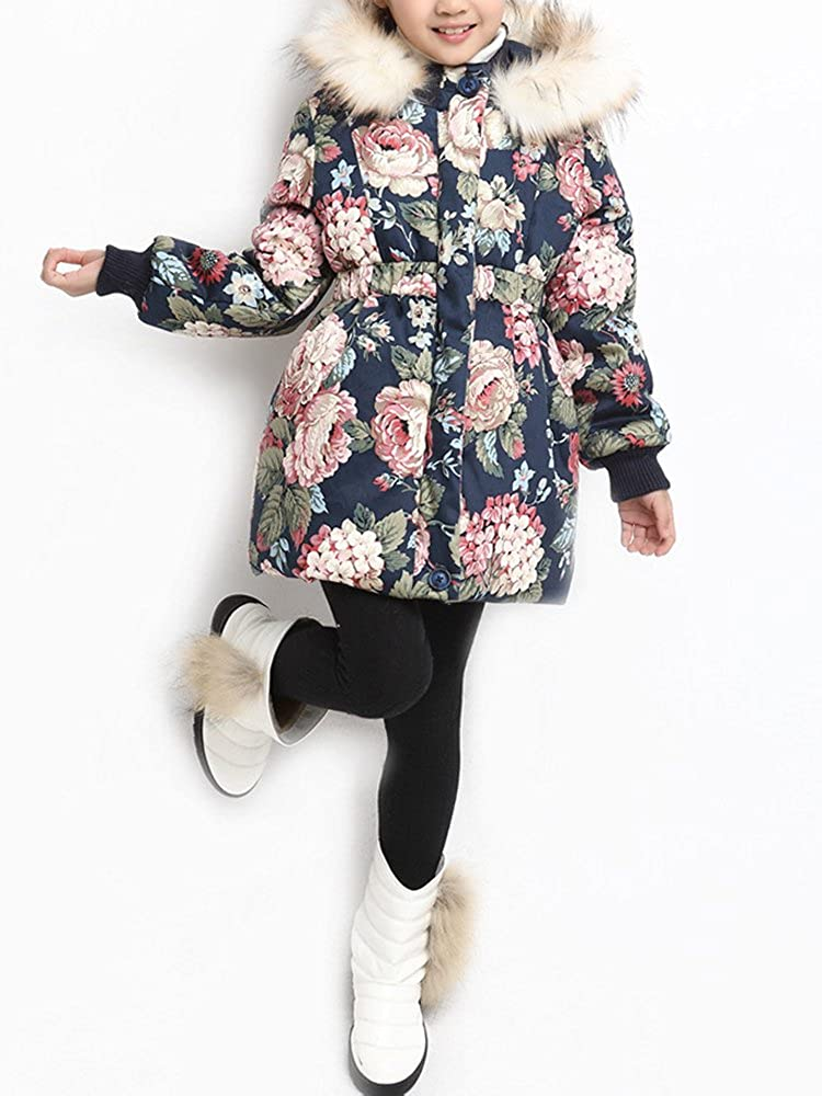 Girls Floral Quilted Padded Winter Coat with Faux Fur Trim Hood