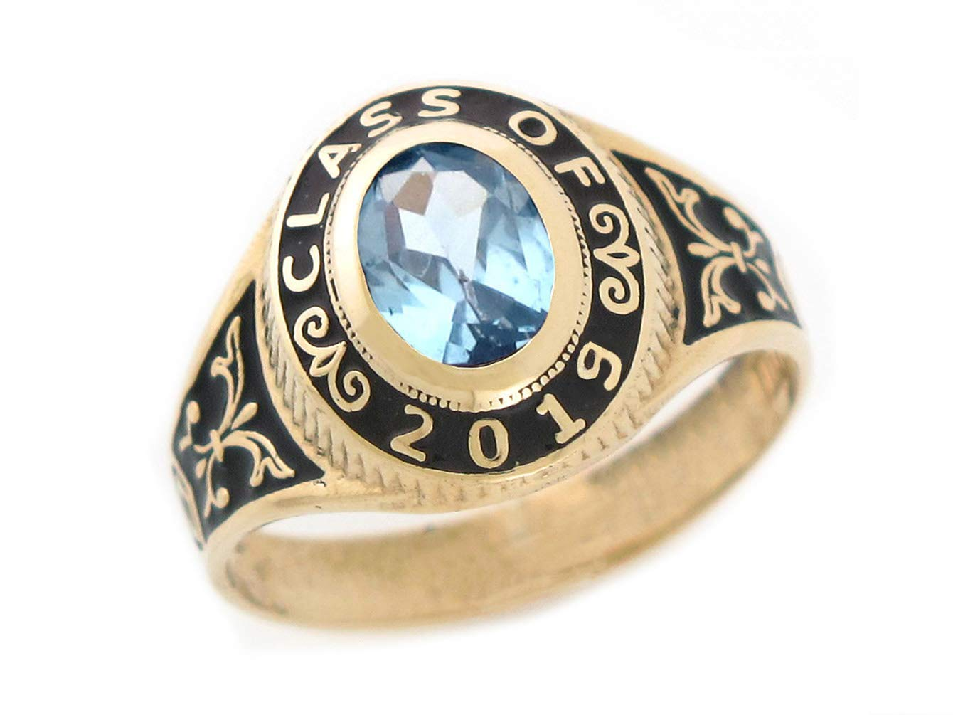 10k Gold Simulated March Birthstone CZ 2019 Class Graduation Ring