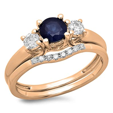14k rose gold blue sapphire white diamond bridal 3 stone engagement ring wedding set - Stone Wedding Rings