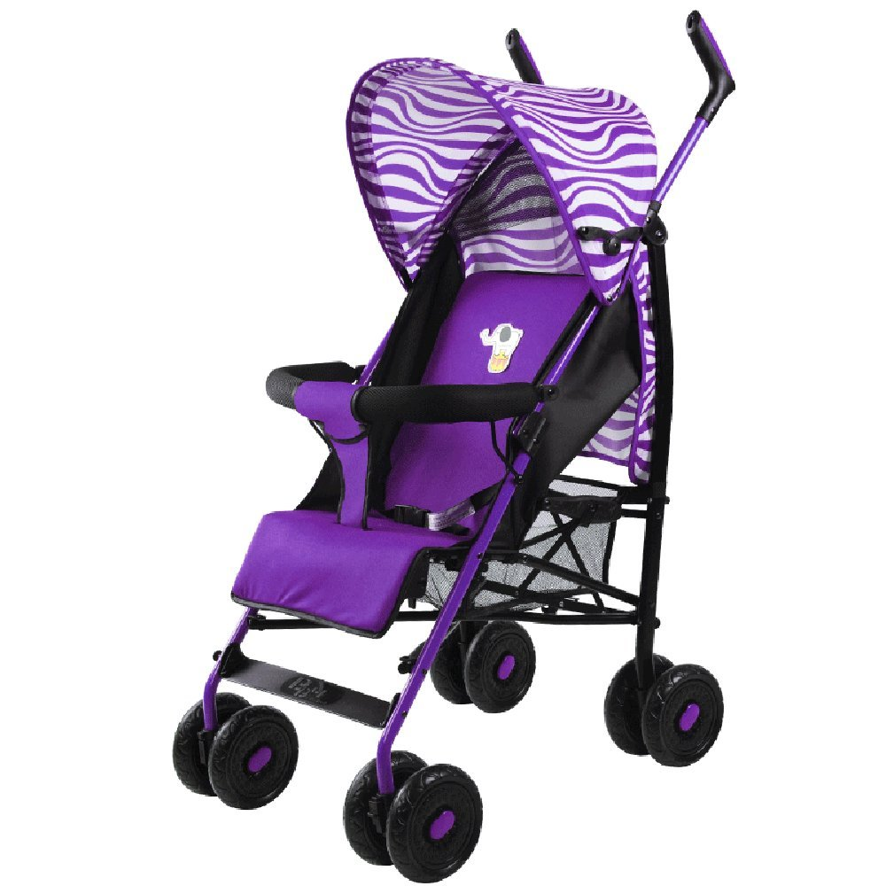 小さな傘のベビーカーを運ぶために折り畳み式を送るためにリクライニングライトを座って調節可能なフード付きのベビーカー (色 : Purple)  Purple B07H88MM8Z