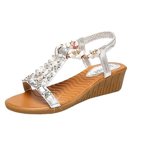 Chanclas Zapatillas Sandalias Mujeres Playa Cuña Peep Zapatos Toe CQthsrdx