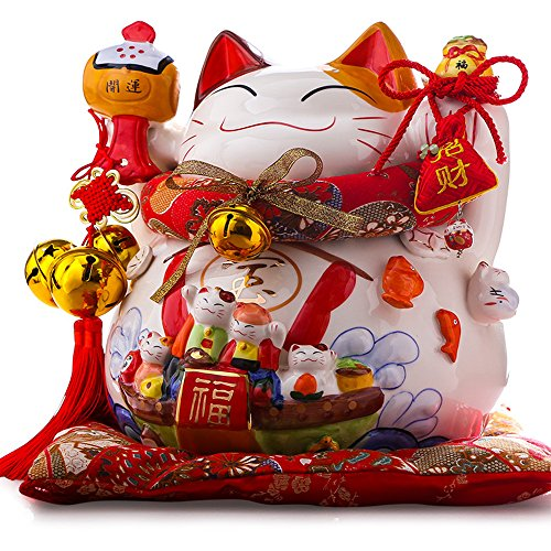 Large Size Ceramic Thriving Business Maneki Neko Lucky Cat(Beckoning Cat) ,Best Gift for Business Opening ,Feng Shui Decor Attract Wealth and Good Luck by Wenmily
