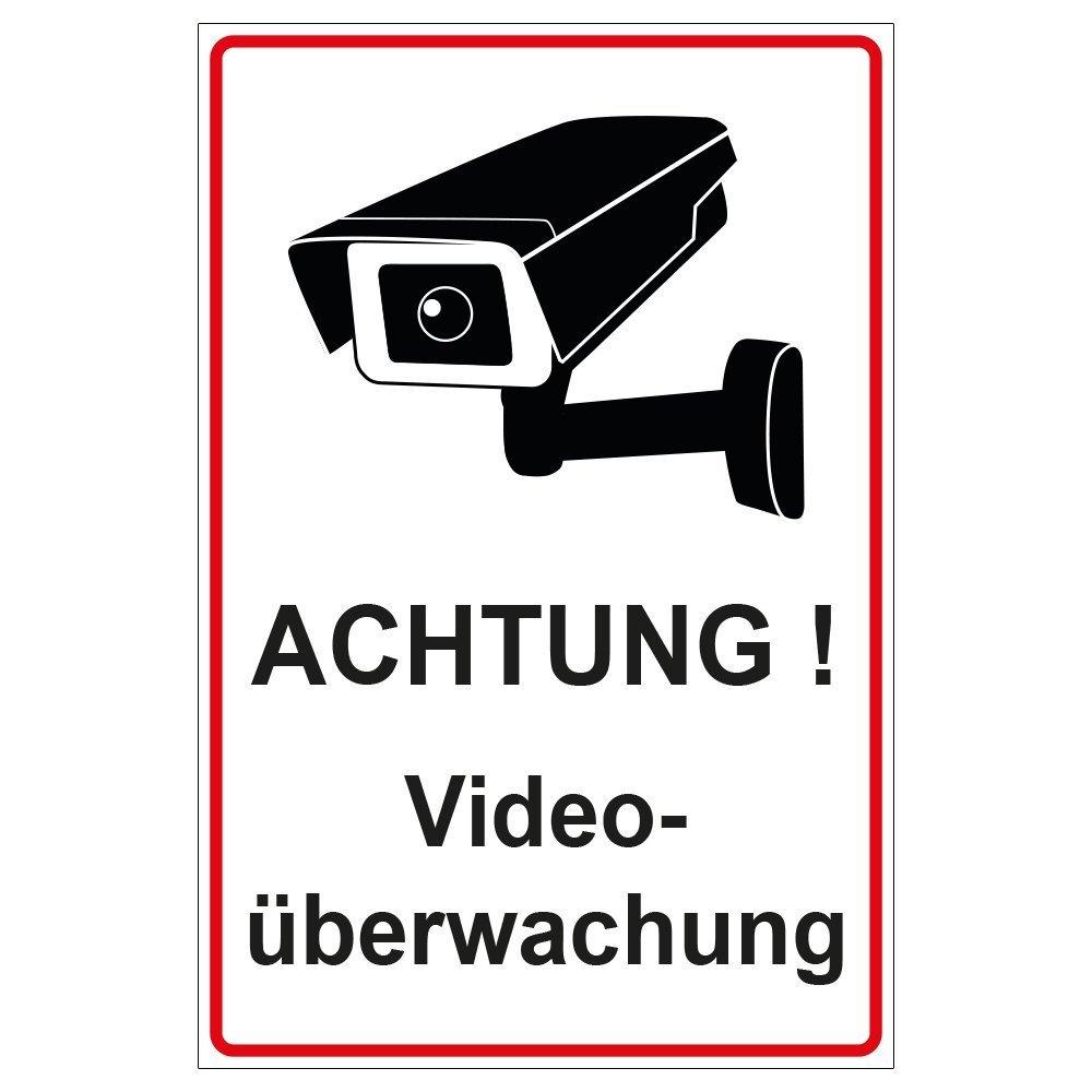 Schild Achtung Videoü berwachung aus Alu / Dibond 140x200 mm - 3 mm stark geschenke-fabrik