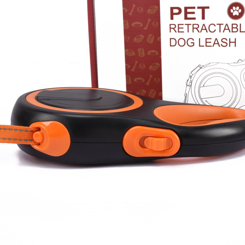 Generic Retractable Leash for Dogs, Cats & Medium Large Pets One Button Break & Lock Durable Adjustable Rope with Anti-slip Handle Orange
