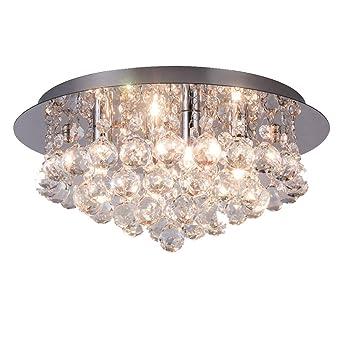 Flush Mount Ceiling Lights Fixtures Modern K9 Transparent Crystal