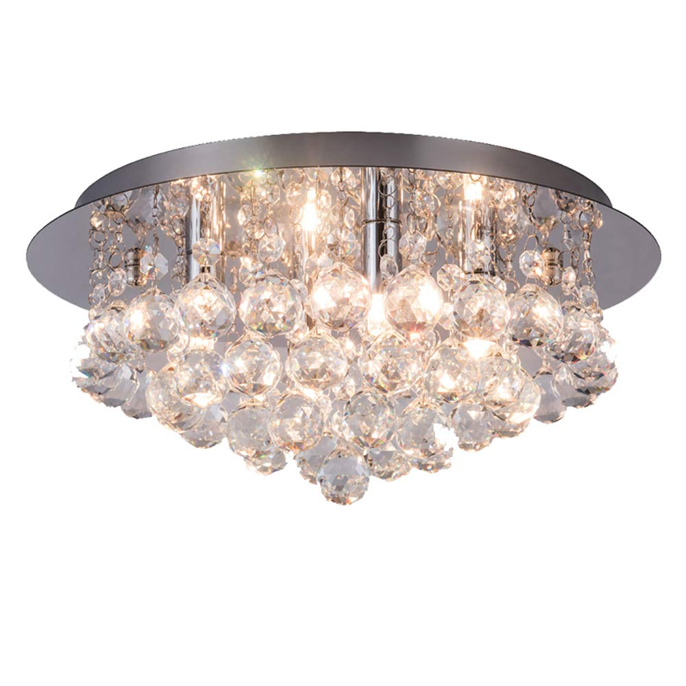 Stainless Steel Crystal Chandeliers Lighting Sold By RH RUIVAST,Crystal Light length 13.78 Inches and a Height of 6.88 Inches. It has a 4 G9 Lamp Holder for the Bedroom Living Room Dining Room