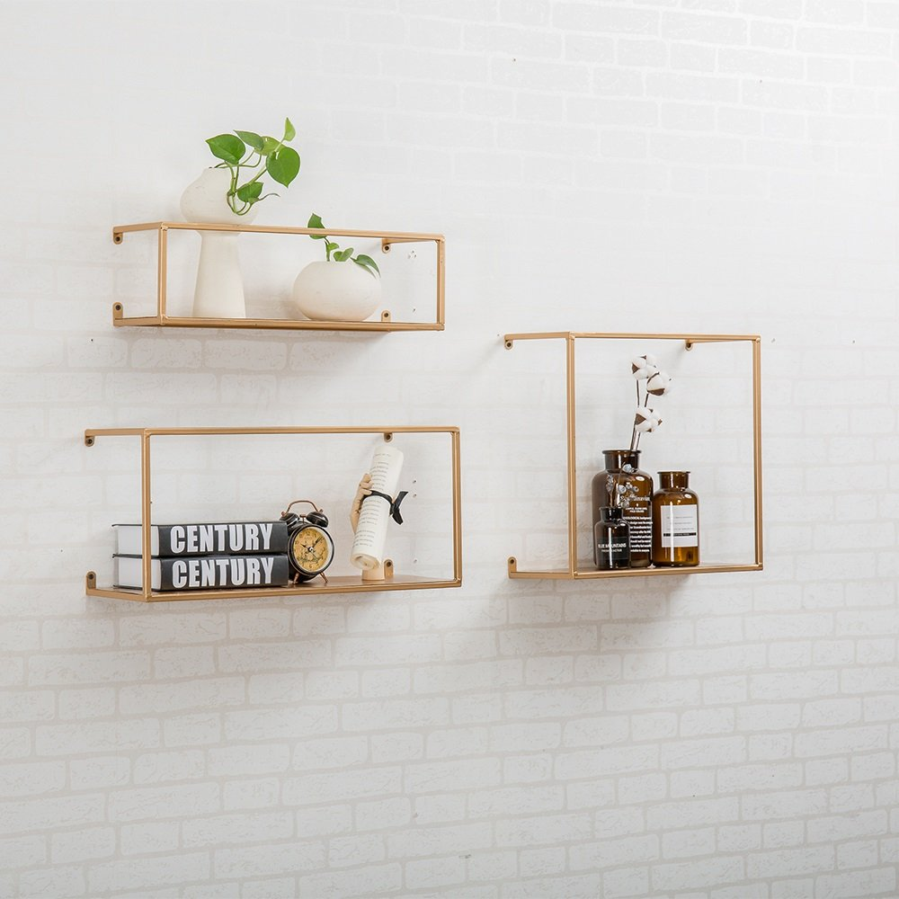 LQQGXL Storage and organization Iron wall shelves living room frame Nordic decorative flower stand (Color : Gold)